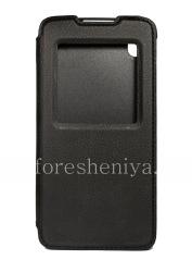 Оригинальный кожаный чехол с открывающейся крышкой Smart Flip Case для BlackBerry DTEK50, Черный (Black)