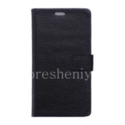 """Кожаный чехол горизонтально открывающийся """"Классический"""" для BlackBerry DTEK50, Черный"""