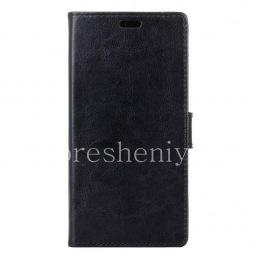 Кожаный чехол горизонтально открывающийся с функцией подставки для BlackBerry DTEK50, Черный