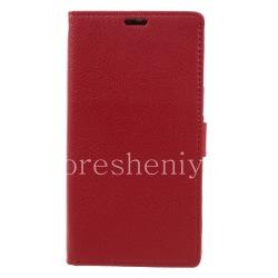 """Кожаный чехол горизонтально открывающийся """"Классический"""" для BlackBerry DTEK60, Красный"""