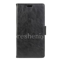 Кожаный чехол горизонтально открывающийся Casual для BlackBerry DTEK60, Черный