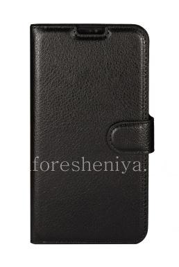 Кожаный чехол горизонтально открывающийся с функцией подставки для BlackBerry DTEK60, Черный