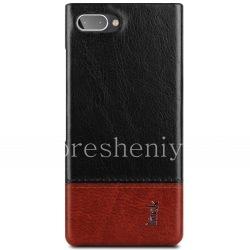 Фирменный пластиковый чехол-крышка Кожаный IMAK для BlackBerry KEY2 LE, Черный/Коричневый (Black/Brown)