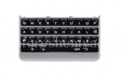 Perakitan keyboard bahasa Inggris asli dengan papan, elemen sentuh dan pemindai sidik jari untuk BlackBerry KEY2, Perak, QWERTY