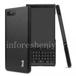 Фирменный пластиковый чехол-крышка Кожаный IMAK для BlackBerry KEY2, Черный (Black)