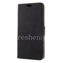 """Кожаный чехол горизонтально открывающийся """"Рельефный"""" для BlackBerry KEYone, Черный"""