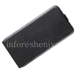 Кожаный чехол вертикально открывающийся для BlackBerry KEYone, Черный