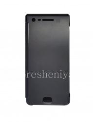 Оригинальный кожаный чехол с открывающейся крышкой Privacy Flip Case для BlackBerry Motion, Черный (Black)