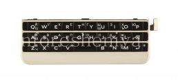 Русская клавиатура в сборке с платой и сенсорным элементом для BlackBerry Passport Silver Edition (гравировка), Серебряный/ Черный (Sliver/ Black)