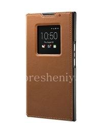 Оригинальный кожаный чехол с открывающейся крышкой Leather Smart Flip Case для BlackBerry Priv, Коричневый (Tan)