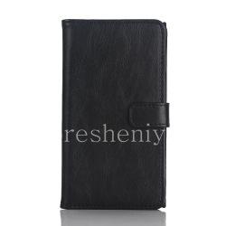 """Кожаный чехол горизонтально открывающийся """"Классический"""" для BlackBerry Priv, Черный"""