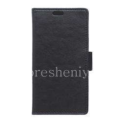 Кожаный чехол горизонтально открывающийся с функцией подставки для BlackBerry Priv, Черный