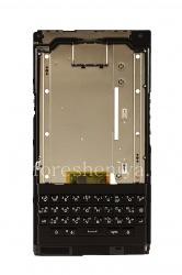 Средняя часть корпуса в полной сборке с русской клавиатурой (гравировка), динамиком, микрофоном и шлейфом боковых кнопок для BlackBerry Priv, Черный
