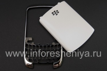 Color body (in two parts) for BlackBerry 9300 Curve 3G, Metallic rim, lid white