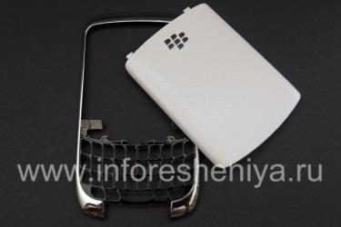 Cuerpo de color (en dos partes) para BlackBerry Curve 3G 9300, Reborde metálico, tapa blanca