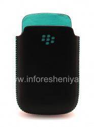 Оригинальный кожаный чехол-карман Leather Pocket Pouch для BlackBerry 8520/9300 Curve, Черный/Голубой (Sky Blue)