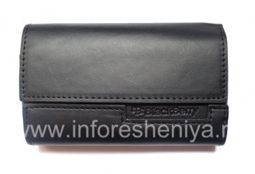 Оригинальный кожаный чехол-сумка Leather Folio для BlackBerry, Черный/Черный (Black w/Black Accent)
