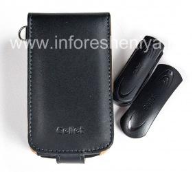 Фирменный кожаный чехол c вертикально открывающейся крышкой и клипсой Cellet Executive Case для BlackBerry 8900 Curve, Черный/ Коричневый