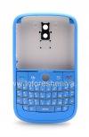 """Фотография 1 — Цветной корпус для BlackBerry 9000 Bold, Голубой Матовый, крышка """"Кожа"""""""