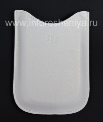 Оригинальный кожаный чехол-карман Leather Pocket Case для BlackBerry 9000 Bold, Белый (White)