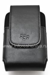 Оригинальный кожаный чехол c клипсой прямоугольный Leather Swivel Holster для BlackBerry 9000 Bold, Черный (Black)