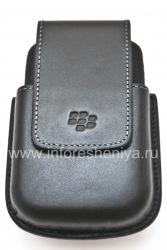Оригинальный кожаный чехол c клипсой округлый Leather Swivel Holster для BlackBerry 9000 Bold, Черный (Black)
