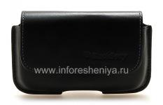 Оригинальный кожаный чехол-сумка с зажимом Horisontal Holster для BlackBerry 9000 Bold, Черный (Black)