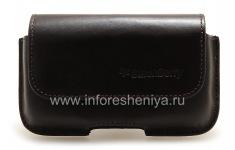 Original-Ledertasche Tasche mit Clip Horisontal Holster für Blackberry 9000 Bold, Dunkelbraun (Espresso)