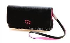Оригинальный кожаный чехол-сумка Leather Folio для BlackBerry 9100/9105 Pearl 3G, Черный/Розовый (Black w/Pink accents)