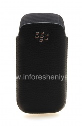 Оригинальный кожаный чехол-карман с металлическим логотипом Leather Pocket для BlackBerry 9100/9105 Pearl 3G, Черный (Black)