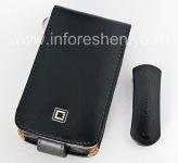 Фирменный кожаный чехол с вертикально открывающейся крышкой Cellet Executive Case для BlackBerry 9520/9550 Storm2, Черный/ Коричневый