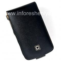 Фирменный кожаный чехол с вертикально открывающейся крышкой Cellet Executive Case для BlackBerry 9630/9650 Tour, Черный/ Коричневый