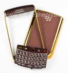 """Caso del color exclusiva para BlackBerry 9700/9780 Bold, Oro / cubierta brillante café """"piel"""""""