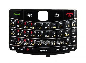 Русская клавиатура BlackBerry 9700/9780 Bold (копия), Черный со светлыми полосками с красными цифрами