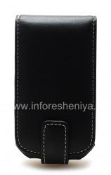 Фирменный кожаный чехол ручной работы Monaco Flip Type Leather Case для BlackBerry 9700/9780 Bold, Черный (Black)