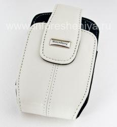 Das Original Ledertasche mit einem Clip und einem Metallschild Lederholster mit Swivel Gürtelclip für Blackberry, Weiß (Pearl White)