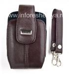 Оригинальный кожаный чехол с ремешком и металлической биркой Leather Tote для BlackBerry, Коричневый (Burnt Sienna)