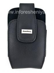 """Оригинальный кожаный чехол с клипсой и металлической биркой """"BlackBerry"""" Leather Holster with Swivel Belt Clip для BlackBerry, Черный (Black)"""