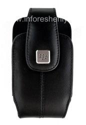 Оригинальный кожаный чехол с клипсой и металлической биркой Leather Holster with Swivel Belt Clip для BlackBerry, Черный (Black)