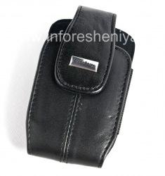 Оригинальный кожаный чехол с ремешком и металлической биркой Leather Tote для BlackBerry, Черный (Pitch Black)