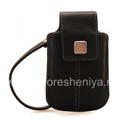 Оригинальный кожаный чехол-сумка Leather Tote для BlackBerry, Черный (Black)
