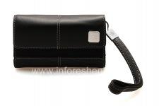 Оригинальный кожаный чехол-сумка с металлической биркой Leather Folio для BlackBerry, Черный/Черный (Black)