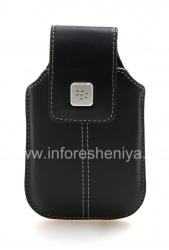 Оригинальный кожаный чехол с клипсой с металлической биркой Leather Swivel Holster для BlackBerry, Черный (Black)