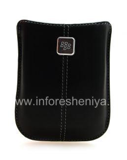 Оригинальный кожаный чехол-карман с металлической биркой Leather Pocket для BlackBerry, Черный (Black)