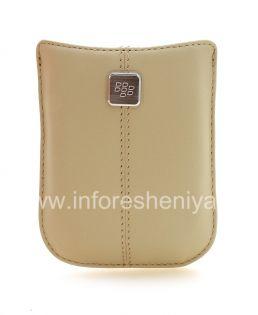 Оригинальный кожаный чехол-карман с металлической биркой Leather Pocket для BlackBerry, Бежевый (Sandstone)