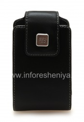 Оригинальный кожаный чехол с клипсой и металлической биркой Leather Swivel Holster для BlackBerry, Черный (Black)