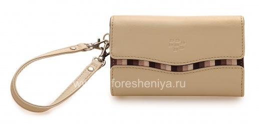 Оригинальный кожаный чехол-сумка с тканевой вставкой Leather Folio для BlackBerry, Бежевый (Sandstone)