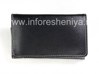Ledertasche Wallet für Blackberry, Schwarz
