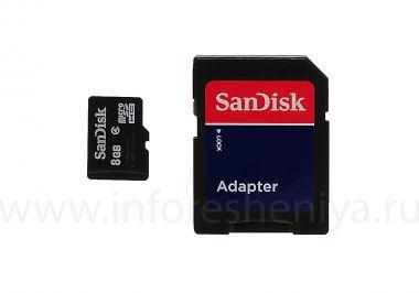 Купить Фирменная карта памяти SanDisk MicroSD (microSDHC Class 4) 8GB для BlackBerry