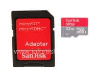 Branded memory card SanDisk Mobile Ultra MicroSD (microSDHC Class 10 UHS 1) 32GB for BlackBerry, Red / Grey